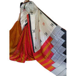 Multicolor Formal Wear Block Print Silk Sarees, Hand Made, With Blouse Piece