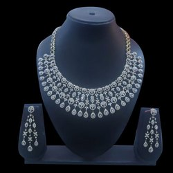 Real Diamonds Diamond Bridal Necklace With Earrings Set
