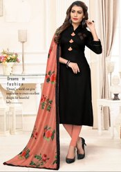Black Rayon Kurti with Digital Print Dupatta