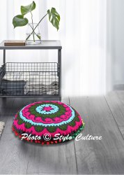 Suzani Round Floor Cushion Cover