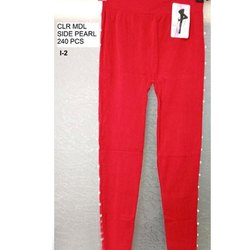 Straight Fit Ladies Side Pearl Cotton Legging, Size: S-XXL
