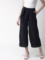 Palazzo Pants Navy Blue Regular Fit Solid Parallel Trousers, Size: S M L XL