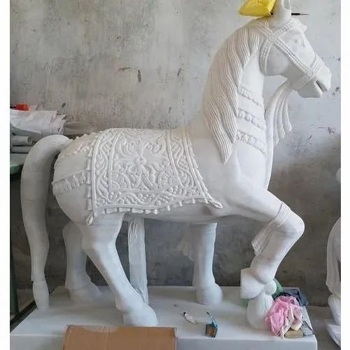 White Marble Horse Statue, for Interior Decor
