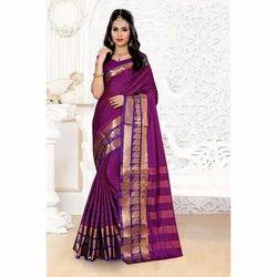 Party Wear Border Designed Ladies Elegant Half Silk Saree, 6.3 M (with Blouse Piece)