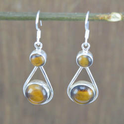 Tiger Eye Gemstone 925 Silver Jewelry Amazing Earring We-3490