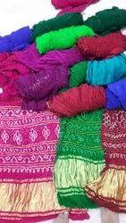 Printed Bandhej Gaji Silk Bandhani Saree With Blouse Piece