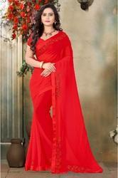 Georgette Designer Stone Work Red Color Saree