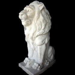 Sitting Lion Marble Sculpture
