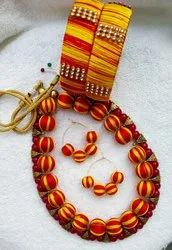 Silk Thread Necklace with Jhumka & Bangles