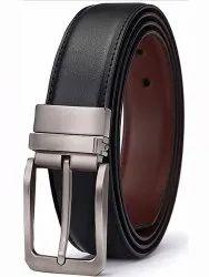 Black Aluminium Mens PU Reversible Leather Belt