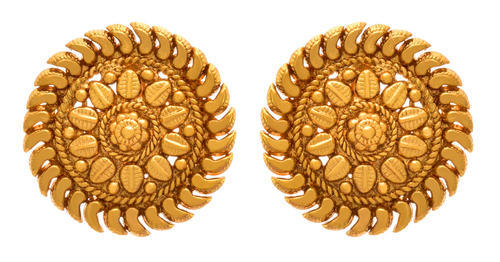 Gold Traditional Ethnic Jfl Plated Designer Stud Earring
