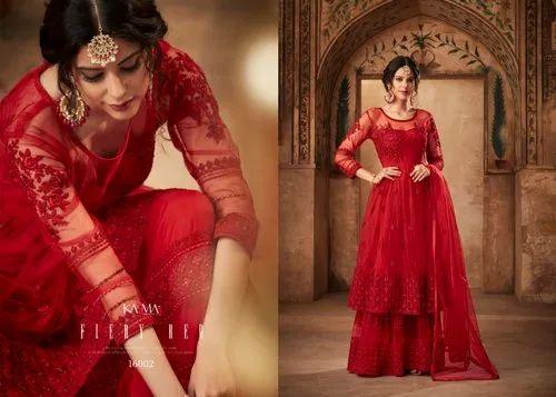 648bc1f3c1 Wedding Wear Semi-Stitched Net Embroidered Designer Party Wear Sharara  Salwar Kameez, Size: