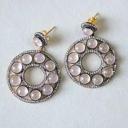 Rose Quartz Victorian Earring