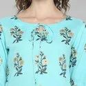 Janasya Women''s Turquoise Green Pure Cotton Kurta(JNE3492)