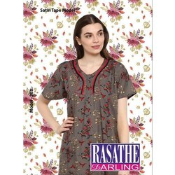 Full Length Cotton Ladies Grey Printed Nightgown