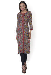 Rayon 3/4th Sleeve Grey Kurti