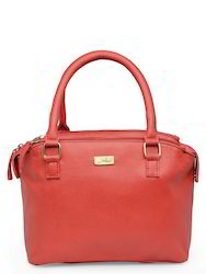 Yelloe Red Handbag In Dotted Effect With Multi Compartments
