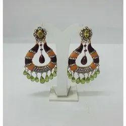Silver Polki Studded Enamel Earring