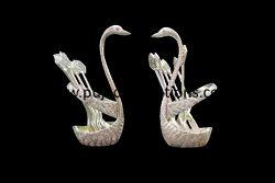 Swan Designer Spoon Fork Set Silver