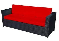 Universal Furniture Black 3 Seater Patio Sofa with Cushions
