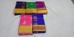 Chanderi Cotton Casual Wear Synthetic Sarees, With Blouse, 5.5 m (separate blouse piece)