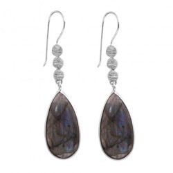 Beautiful 16x30mm Labradorite Matt Disc 925 Silver Sterling Silver Plated Gorgeous Earring