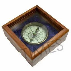 Nautical Compass With Wooden Box, Appearance: Antique, Surface Finish: Polished