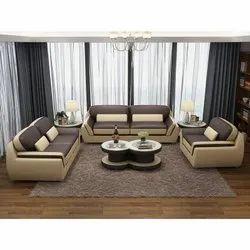 Modern Brown 5 Seater Modular Leather Sofa Set, For Home, Living Room