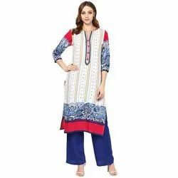 Cotton Off White and Blue Palazzo Suit