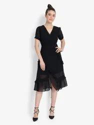 Black Double layered Chiffon Dress