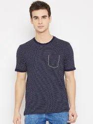 Men Navy Blue & White Half Sleeve Round Neck T-Shirt