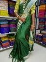 Body Designed Uppada Mahanati Checks With Silver Border Saree