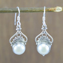 Silver Jewelry Doctor 925 Sterling Silver Cabochon Pearl Earring