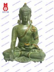 Lord Buddha Sakyamuni Sitting 3 Legs Antq. Green Statue