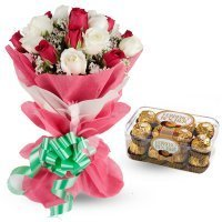 Sweet Movement 20 Mix Colour Roses Chocolate