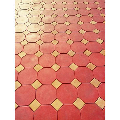 Red And Yellow Concrete Outdoor Hexagonal Interlocking Paver, 60-80 Mm