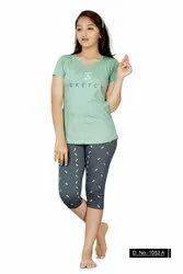Cotton Regular Wear KuuKee 1052 Kids Capri Set Girls