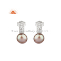 Gray Pearl Gemstone White Rhodium Plated Silver Earrings