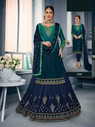 Trendy Georgette Satin Embroidered Party Wear Salwar Kameez