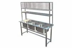 Three Sink Washing Unit with Plate Rack