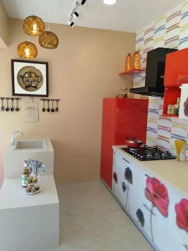 Wooden L Shape Kutchina Modular Kitchen Warranty 1 5 Years Rs 99990 Unit Id 20841566897