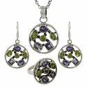 Peridot Gemstone Silver Jewelry Set