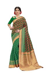 Banarasi Silk Saree Banarasi Flower Weaving Party Wear Traditional Wedding Wear Saree