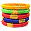 Indian Handcraft Super Multicolour Silk Thread Bangles Set