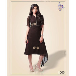 Small And Large Black Ladies Party Wear Kurti