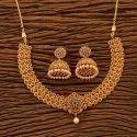 黄铜古董磨砂镀金南印度项链套装200659