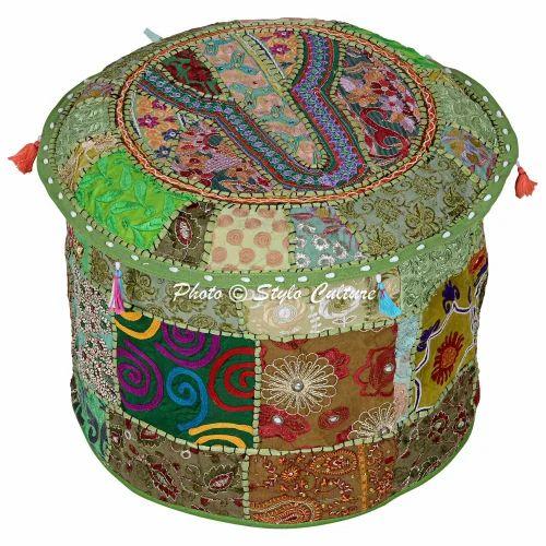 Round Ottoman Indian Ethnic Cushion Ottoman Cover