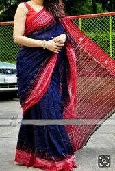 Hand Ikkat Printed Soft Cotton Saree