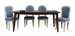 6 Seater Dining Set Made of Solidwood / Walnut Finish Table & Rustic Chairs by Jaipur Furniture