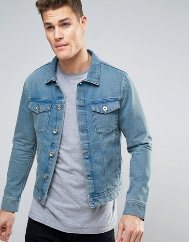 Large And Xl Shades Of Blue And Charcoal Mens Faded Denim Jacket